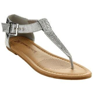 De Blossom Women's 'Cruise-18B' Silver Rhinestone Flat Sandals