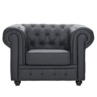 Chesterfield Black Leather Tufted Armchair
