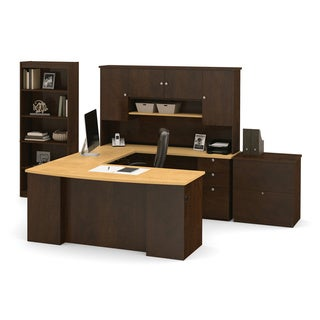 Bestar Manhattan Secret Maple/ Chocolate Lateral File/ Bookcase U-shaped Workstation