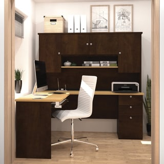 Bestar Manhattan Secret Maple/ Chocolate L-shaped Workstation