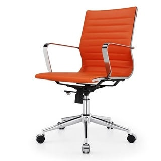 'Due' Modern Office Chair in Orange Vegan Leather
