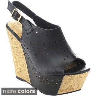 De Blossom Collection 'Port-6' Women's Cut-out Slingback Platform Wedges