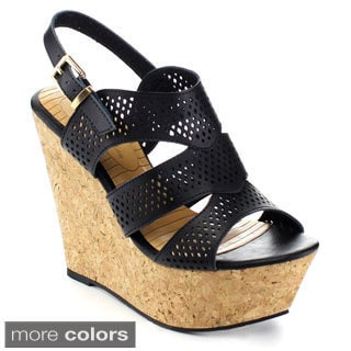 De Blossom Collection 'Port-1' Women's Perforated Platform Slingback Wedges