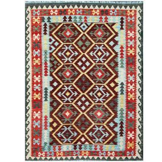 Herat Oriental Afghan Hand-woven Tribal Kilim Red/ Light Blue Wool Rug (3'1 x 4'9)