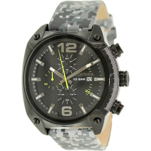 Diesel Men's Overflow DZ4324 Black Leather Quartz Watch