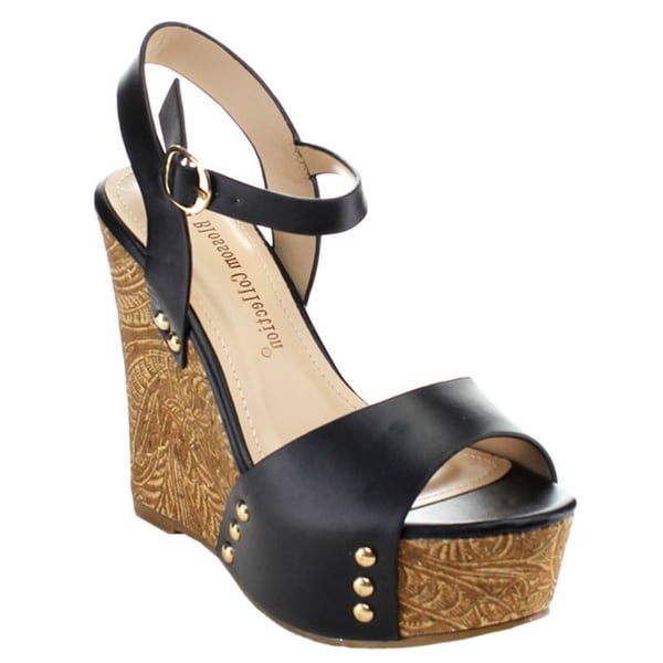 De Blossom Collection 'Madness-5' Women's Stud Platform Ankle Strap Wedges