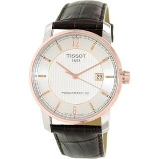 Tissot Men's T087.407.56.037.00 Silvertone Leather Swiss Automatic Watch