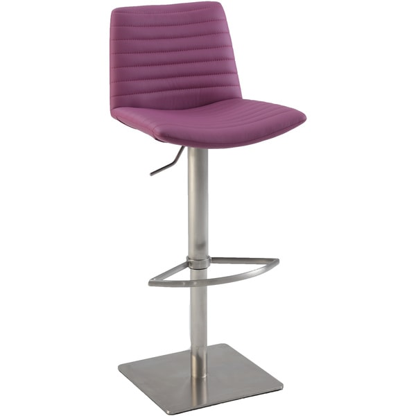 Christopher Knight Home Purple Ribbed Back and Seat Pneumatic Stool