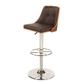 Christopher Knight Home Brown Upholstered Back Pneumatic Stool