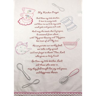 Set of 2 'My Kitchen Prayer' Embroidered Cotton Towels (India)