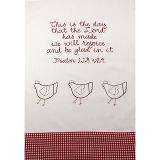 Set of 2 'This is the Day' Embroidered Cotton Kitchen Towels (India)