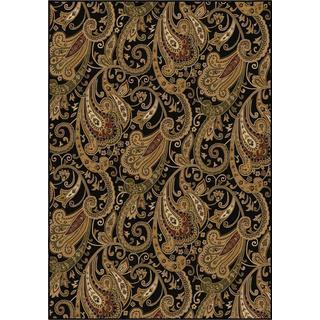 "American Heirloom Collection Kashmir Black Olefin Area Rug (5'3"" x 7'6"")"