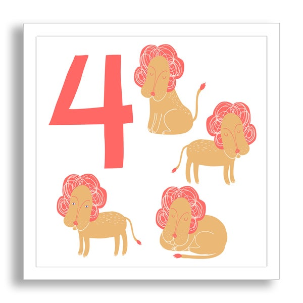 Why Not Me CZ's 'Learn to Count: Four Lazy Lions' Framed Paper Art