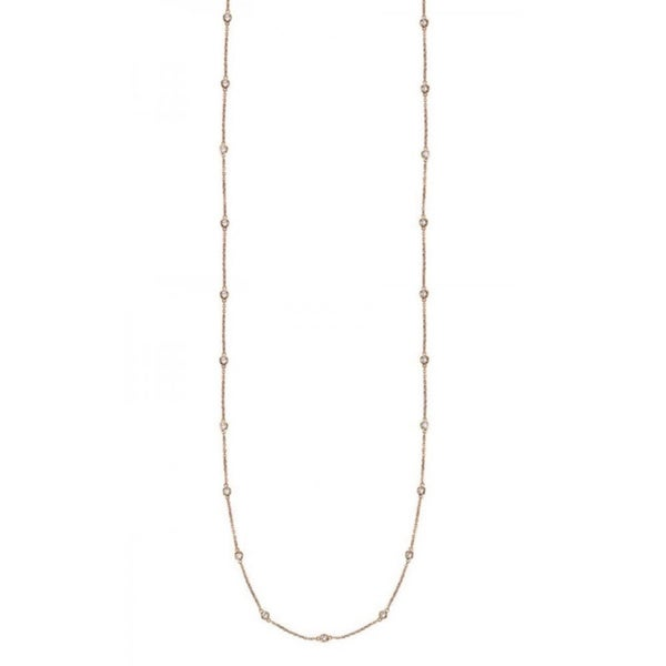 Suzy Levian 14k Gold 3/5ct TDW Bezel Diamonds by the Yard Station Necklace (36 inch)