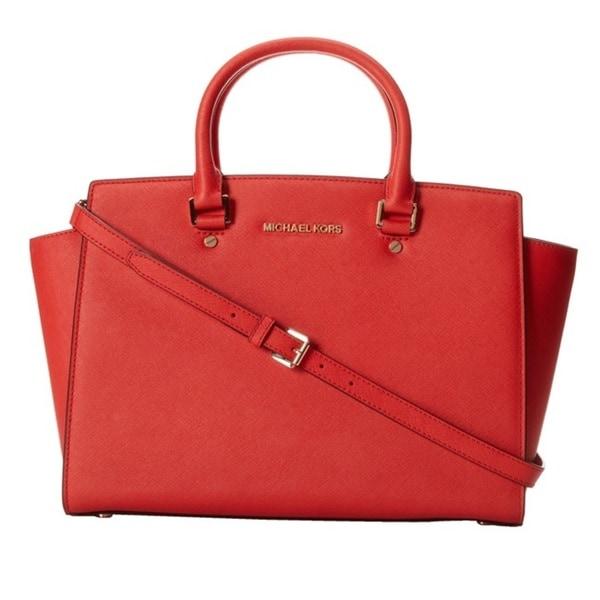 Michael Kors Selma Large Saffiano Top Zip Satchel Handbag 14917039