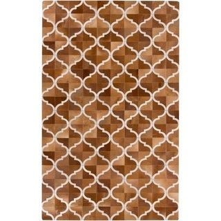 Handmade Michael Geometric Pattern Leather Rug (8' x 10')