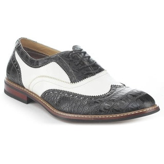 Ferro Aldo Men's M-139001B Snake-embossed Wing Tip Oxfords