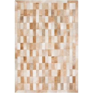 Handmade Phillip Check Pattern Leather Rug (8' x 10')