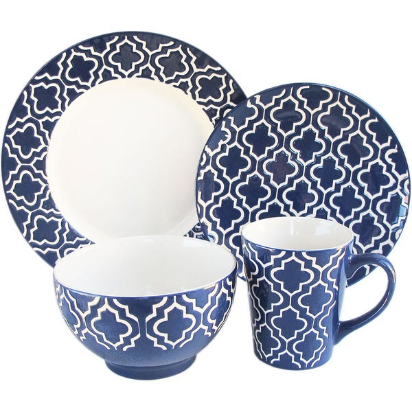 Quatre 16-piece Navy Dinnerware Set