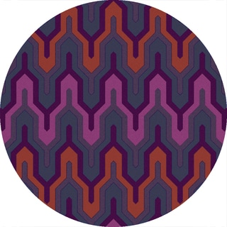Hand-Hooked Madge Geometric Polyester Rug (3' Round)