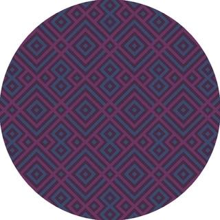 Hand-Hooked Lynn Geometric Polyester Rug (3' Round)