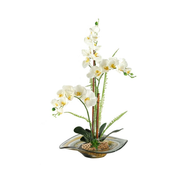Large Cream Phael Orchids/ Foliage in Art Glass Bowl