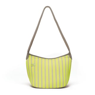 Built Hobo Neon Stripe Lime Shoulder Lunch Tote