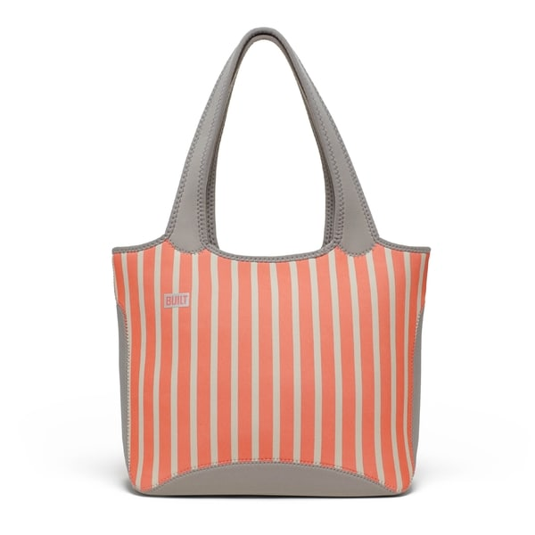 Built Everyday Neon Stripe Coral Shoulder Tote