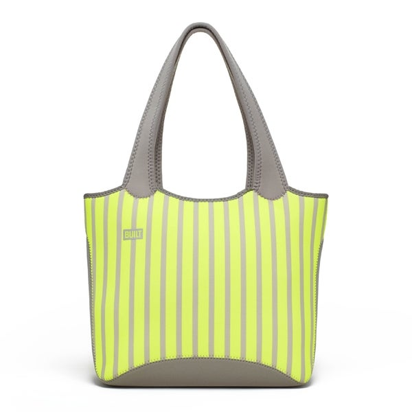 Built Everyday Neon Stripe Lime Shoulder Tote