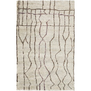 Hand-Knotted Ross Abstract Pattern Hemp Rug (8' x 11')