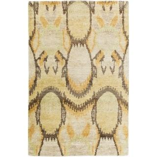 Hand-Knotted Vera Ikat Pattern Hemp Rug (5' x 8')