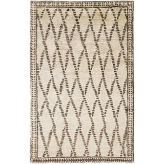 Hand-Knotted Rick Stripe Pattern Hemp Rug (5' x 8')