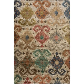 Hand-Knotted Ruth Ikat Pattern Hemp Rug (3'3 x 5'3)