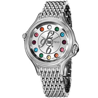 Fendi Women's F105036000T05 'CrazyCarats' Silver Dial Stainless Steel Swiss Quartz Watch