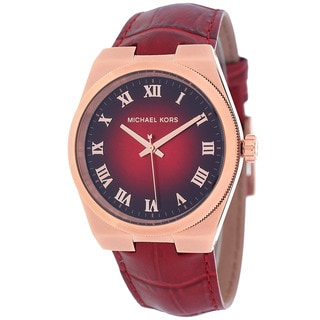 Michael Kors Women's MK2357 Channing Round Red Leather Strap Watch