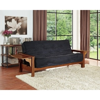 DHP Brooklyn Wood Arm Futon with 8 inch Black Coil Mattress