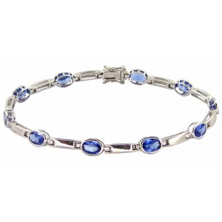 Kabella 14k White Gold Oval Tanzanite Bracelet