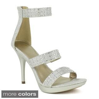 Celeste Women's Jeslyn-01 Glittery Mesh Dress Heels