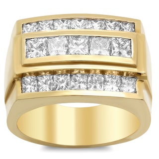 14k Yellow Gold Men's 3 ct TDW Diamond Ring (E-F, VS1-VS2)