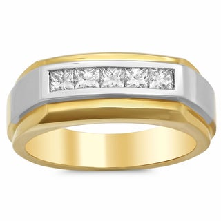 18k Yellow Gold Men's 3/4ct TDW Diamond Ring (F-G, VS1-VS2)