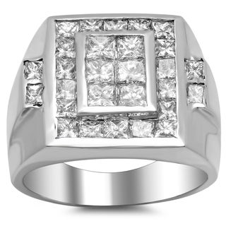 18k White Gold Men's 3ct TDW Diamond Ring (F-G, VS1-VS2)
