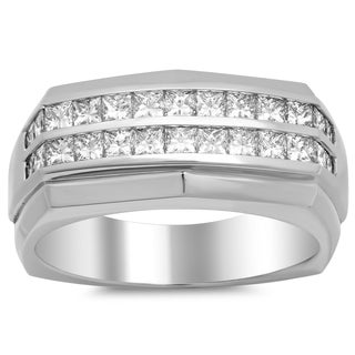 18k White Gold Men's 1 3/4ct TDW Diamond Ring (F-G, VS1-VS2)
