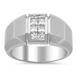 18k White Gold Men's 1ct TDW Diamond Ring (F-G, VS1-VS2)