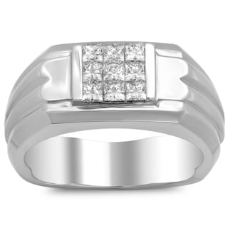 18k White Gold Men's 3/4 ct TDW Diamond Ring (E-F, VS1-VS2)