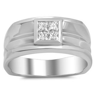 18k White Gold Men's 1/2ct TDW Diamond Ring (F-G, VS1-VS2)