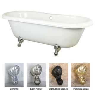 Double Ended 67-inch Acrylic Clawfoot Tub with 7-inch Deck Drillings