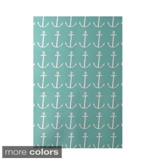 Decorative Nautical Anchor Coastal Pattern Area Rug (4' x 6')