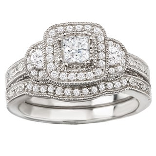 Avanti 14k White Gold 5/7ct TDW Princess Halo Vintage Diamond Bridal Set (G-H, SI1-SI2)