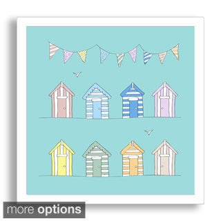 Andy Frith's 'Beach Huts and Bunting - Beach Themed Baby Art' Framed Paper Art
