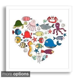 Neyro's 'Marine Animals Heart' Framed Paper Art